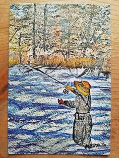 Fly Fishing River Scene Watercolor POSTCARD Art by MySalvagedPast