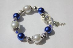 Sapphire Blue White and Pewter Toggle Bracelet by IrishExpressions, $20.00