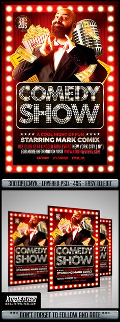 Comedy Show Poster, Flyer \ Ticket Flyers tickets, Print - comedy show flyer template
