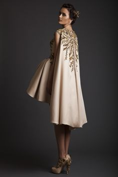 SS14 | Krikor Jabotian Embellished dress with cape