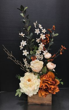 How does this make you feel Rust and Cream Classic by Andrea Artificial Floral Arrangements, Fall Floral Arrangements, Dried Flower Arrangements, Floral Centerpieces, Flower Vases, Artificial Flowers, Wedding Centerpieces, Fall Flowers, Dried Flowers
