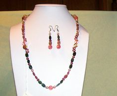 Make a Statement, Beadwork, Maine Tourmaline, Gemstone, Semi Percious, Necklace, Pearls, Crystal, Holiday, Christmas, Cocktail,  091212-9. $46.00, via Etsy.