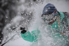 Featured on Patagonia for 30 day Pinterest feature: Face shots in deep powder. Patagonia ambassador Caroline Gleich, Wasatch Mountains, Utah. Photo: Lee Cohen