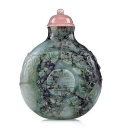 A jadeite snuff bottle with medallion and dragon 1760-1820