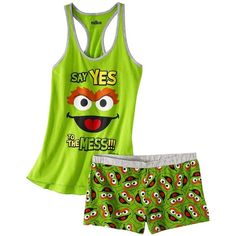 Sesame Street® Junior's Tank & Short Sleep Set - Oscar the Grouch ($17) ❤ liked on Polyvore