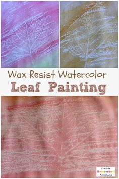 Wax resist watercolor fall leaf painting- a lovely Autumn themed art project Leaf Skeleton, Skeleton Art, Fun Arts And Crafts, Arts And Crafts Projects, Leaf Paintings, Wax Art, Inspired Learning, Painted Leaves, Watercolor Leaves