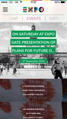 Expo 2014, Scrolling, events, iPhone