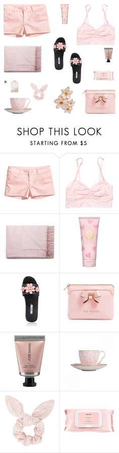 """""""Tickled ...Blush?"""" by alongcametwiggy ❤ liked on Polyvore featuring H&M, Victoria's Secret, Acne Studios, Tory Burch, Prada, Ted Baker, Josie Maran, Wedgwood, Topshop and Mamonde"""