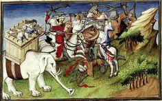 Ilustración en miniatura de una de las escenas del viaje de Marco Polo.