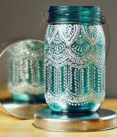 Puff Paint Jar Lantern