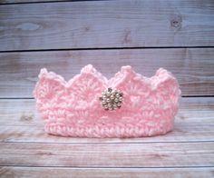 Princess Crown, Newborn Photo Prop, Baby Girl Crown, Crochet Baby Crown, Newborn Girl Crown, Infant Girl Crown, Pink Crown, Newborn Crown #affiliate