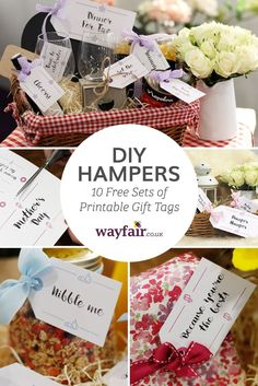 Great ideas for gift hampers for Valentines, Mothers Day, Birthdays and other occasions, as well as free printable tags.