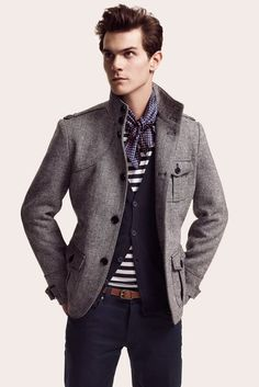 Grey Jacket great no doubt. but i like the layering. Also the knotted sailor scarf look is great