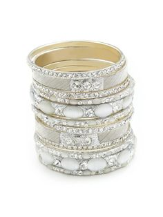 Set of 10 Silver & Grey Bangle Bracelets by Chamak by Priya Kakkar on Gilt.com