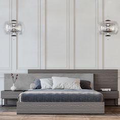 Modern and minimal double bed in an eye-catching combination of wood and lacquer. Double Beds, Pallet, Minimalism, This Is Us, Eye, Bedroom, Wood, Modern, Inspiration