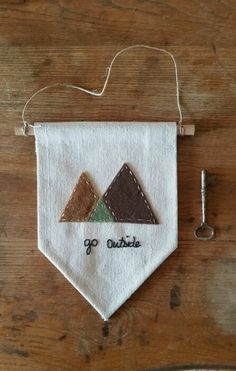 Small Handmade Canvas Wall Mountain Banner Go Outside by aspenandoak Shipping Included Made in America Felt Crafts Diy, Home Crafts, Arts And Crafts, Sewing Projects, Craft Projects, Felt Banner, Metal Tree Wall Art, Creation Couture, Wall Canvas