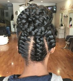 20 Under Braids Ideas to Disclose Your Natural Beauty Under Braids In A Bun Updo Braided Hairstyles Updo, Braided Hairstyles For Black Women, Bun Updo, Hairstyles Videos, Black Hairstyles, Protective Hairstyles, Updos, Twist Pony, Curly Hair Styles