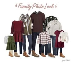 Looking & planning for what to wear for Family Pictures? Here is the great entire look featuring reds, greens & plaids! It's a wonderful coordinating look for family photos and so easy to be mixed and matched! This would be so cute for Christmas pictures Fall Family Picture Outfits, Christmas Pictures Outfits, Family Portrait Outfits, Family Picture Colors, Fall Family Portraits, Colors For Family Pictures, Family Christmas Outfits, Fall Photo Outfits, Children's Outfits