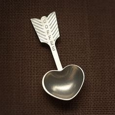 heart coffee scoop  hand cast pewter spoon by beehivekitchenware, $25.00