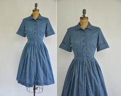 60s dress / vintage dress / 1960s 60s cotton full skirt print dress - $64.00
