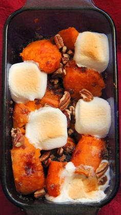 Holiday Recipe: Traditional Sweet Potato with Marshmallows, so easy if you bake the potatoes ahead of time and then peel them before baking again. Get the products at Walmart!