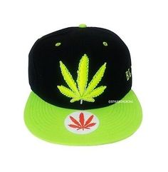 Snapback+Hip+Hop+Snap+Back+Hat+Unisex+Adjustable+Baseball+Cap+Marijuana+BK+Green