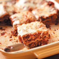 Ground Beef Lasagna Recipes from Taste of Home, including Aunt May's Lasagna Recipe