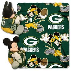 Green Bay Packers Mickey Mouse Infant Baby Blanket Hugger w/ Fleece Throw (NFL) Baby Sports Fan by Northwest. Mickey Mouse with 40 x 50 Fleece Team Logo Blanket. Two Gifts in Great for any Mickey Mouse and Packers Fan. Greenbay Packers, Packers Baby, Go Packers, Nfl Green Bay, Green Bay Packers Blanket, Mickey Mouse Blanket, Green Bay Packers Merchandise, Aleta, Disney Mickey Mouse