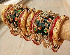 Gorgeous rajwadi bangles 👌😍 Best Quality ❤️ Size - Material - kundan work on plastic and metal base♥️ Indian Jewelry Earrings, Fancy Jewellery, Indian Wedding Jewelry, Hand Jewelry, Stylish Jewelry, Egyptian Jewelry, Egyptian Art, Crystal Jewelry, Silver Jewelry