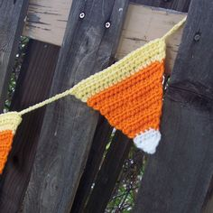 Crocheted Candy Corn Garland - Bunting - Banner- Orange, Yellow, White Rustic Autumn Harvest Fall Halloween Decor Thanksgiving Decoration. $25.00, via Etsy.