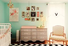 Love the wall color and the dresser as a changing table