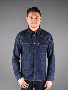 244f4912121 Pure Blue Japan 5 oz Knub Selvedge Western Shirt. Denim ShirtsWork ...