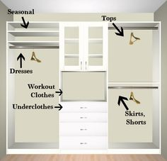 This is what I want the right side of my closet to look like. Use chest of drawers in middle and shelves above it. #organizecloset