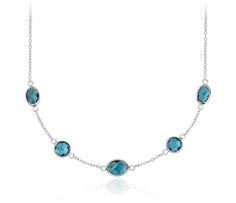 London Blue Topaz Stationed Necklace in Sterling Silver | #SomethingBlue #Wedding #Jewelry