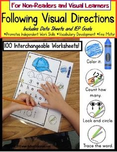 Autism FOLLOWING VISUAL DIRECTIONS Worksheets for NON-READERS Data/IEP Goals Autism Classroom, Special Education Classroom, Classroom Ideas, Teaching Tools, Teaching Resources, Teaching Ideas, Resource Room Teacher, Self Contained Classroom, Work Goals