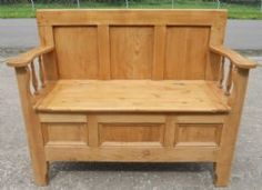 Pine Hall Settle Bench, Storage Box Seat, really cool for a dinner table bench!