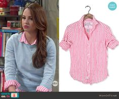 Sofia's pink striped shirt on Young and Hungry.  Outfit Details: http://wornontv.net/49231/ #YoungandHungry