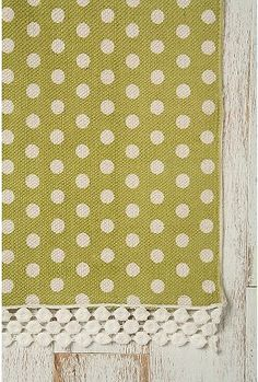 completely adorable polka dot rug:  $19 for 2x3  {laundry room?  back door landing?}