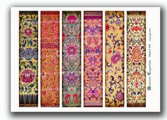 Bookmarks Book Marks Chinese Oriental Asian Antique Floral Pattern Shabby Chic Booklover Book Lover Library Printable Collage Sheet 400