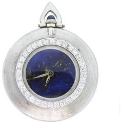 Cartier 18K White Gold Lapis Lazuli Dial Pocket Watch