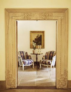 The vintage carved moldings could go around a master suite door, accent a front door, or accenting a little nook. How to make a big impact in a small space on a budget, how to add character to a builder home, creative decorating ideas. Fabulous!