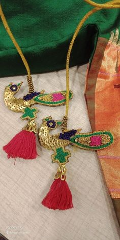 Hand made Saree Jacket Designs, Saree Tassels Designs, Blouse Designs, Thread Bangles, Thread Jewellery, Fabric Jewelry, Embroidery Works, Hand Embroidery, Simple Wedding Bands
