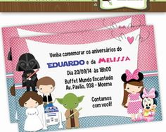 Convite Duplo Star Wars e Minnie