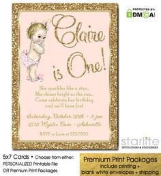 Blush Pink + Gold Glitter Vintage Baby Girl Birthday Invitation - Available in Choice of Personalized Printable Invitation or Premium Printed Invitation Packages including envelopes and expedited shipping. Rainbow First Birthday, Gold First Birthday, Baby Girl 1st Birthday, Photo Invitations, Pink Invitations, Printable Invitations, First Birthday Invitation Cards, Old Birthday Cards, Vintage Baby Mädchen