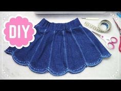 Children& Jeans Skirt - Easy Sewing - Step by Step - CC in Saia Jeans Infantil – Costura Fácil – Passo a Passo – CC in English Children& Jeans Skirt – Easy Sewing - Baby Girl Dress Patterns, Baby Dress Design, Dress Sewing Patterns, Baby Dress Tutorials, Vintage Girls Dresses, Dresses Kids Girl, Kids Outfits, Sewing Clothes, Diy Clothes
