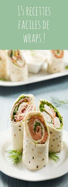 15 easy and fast wraps recipes! Perfect for aperitif, for a drink - Recipes Easy & Healthy Healthy Meals For Kids, Easy Meals, Healthy Recipes, Lunch Recipes, Eat Healthy, Dinner Recipes, Office Food, Comidas Light, Food Porn