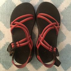 women's 7.5 red double strap chaco sandal women's 7.5, these chacos are so comfortable! they have a brown base with red & dark pink straps. only worn a few times! feel free to make an offer! :) Chacos Shoes Sandals