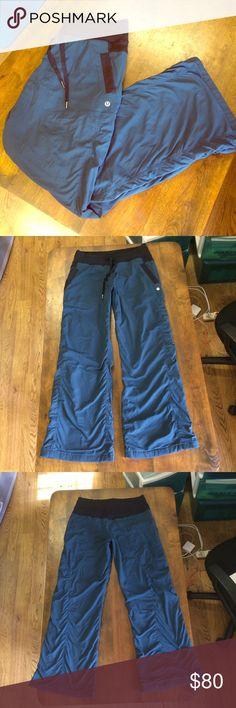 "Lululemon Studio 1 Dance/Yoga Pants New! Lululemon Steel Blue Striped, Lined, Soft Nylon Dance Yoga Studio 1 Pants Size Medium. Inseam 29"" Never Worn, Perfect Condition! lululemon athletica Pants"