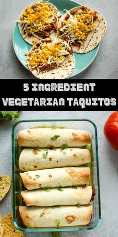 These easy vegetarian taquitos are only 5 ingredients You can get these in the oven in 10 minutes and the whole family will enjoy this recipe There is also an easy option to add meat or make it vegan dinner Clean Eating Vegetarian, Low Carb Vegetarian Recipes, Vegetarian Recipes Dinner, Vegan Dinners, Easy Dinner Recipes, Cooking Recipes, Dinner Healthy, Vegetarian Taquitos Recipe, Vegetarian Lunch Ideas For Work