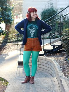 Petite Panoply: Decemberists T-shirt, Cozy Cardigan, Corduroy Shorts, & Neon Mint Tights
